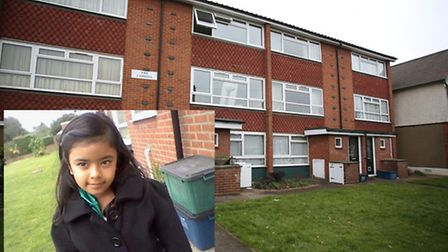 The Coppins flats in Chadwell Heath where Muddar and Chowdhury were next door neighbours and, inset