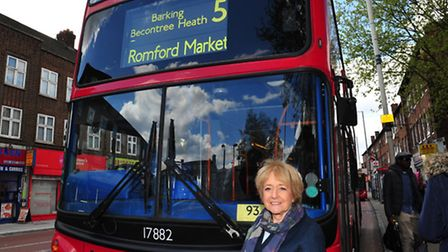 Margaret Hodge and a number five bus