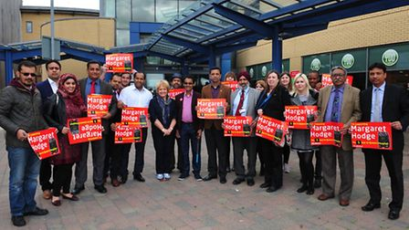 Margaret Hodge at Queens hospital with her supporters
