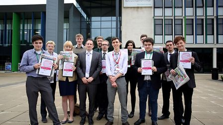 Takeover students from the Barking and Dagenham College receiving their awards from Archant staff.