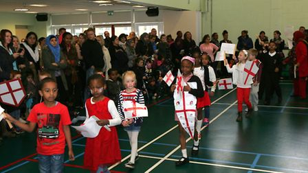 St George's Day parade at Eastbury Primary School