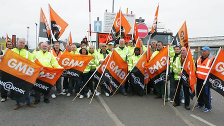 Members of the GMB union on strike. 80 per cent of refuse drivers have gone back to work, but furthe