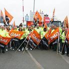 Members of the GMB union during the strikes