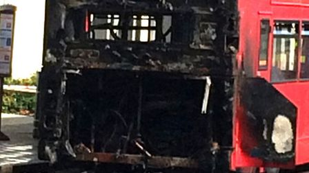 The remains of the no.5 bus in Dagenham