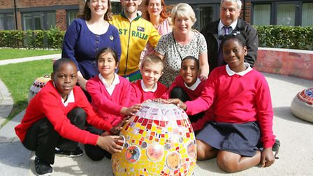 Children from Manor Longbridge Primary School designed and created sculptures and benches for local