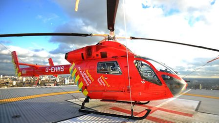 The London's Air Ambulance's only helicopter on the helipad at The Royal London Hospital, Whitechape