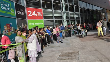 Queue's at the new Asda store in Barking