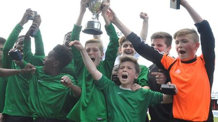 Sydney Russell celebrate winning the Essex Under-13 Cup final against St Martin's