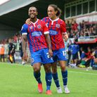 Ashley Hemmings of Dagenham is congratulated by Jodi Jones after scoring the opening goal during (pi