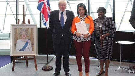 Boris Johnson, Sauda and chair of the London Assembly, Jennette Arnold (Pic by Ian Griffiths of Even