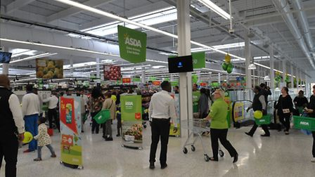 Shoppers at the new Barking Asda on its opening day