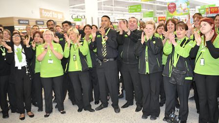 Staff at the opening of the new Asda store