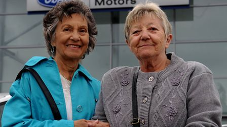 Ford strikers Gwen Davis and Sheila Douglass (l - r) were invited to the Women of the World summit w