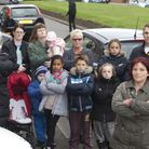 Nicky (front right) with a group of angry neighbours who are fed up with the parking situation on No