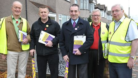 Peter Harris (second from left) with fellow Ukip supporters, consulting Eastbrook residents