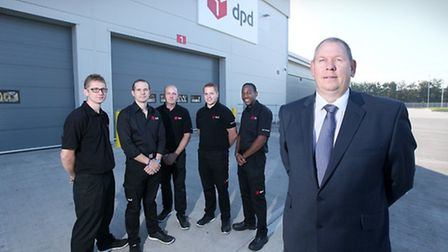 DPD Dagenham manager Shane May with some of his staff outside the new depot