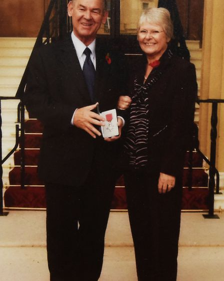 Charles Fairbrass after picking up his MBE from the Queen, with wife Joan