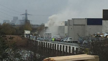 The fire raged at the Kingsbridge Road, Barking recycling plant Photo: Sammie Ellis