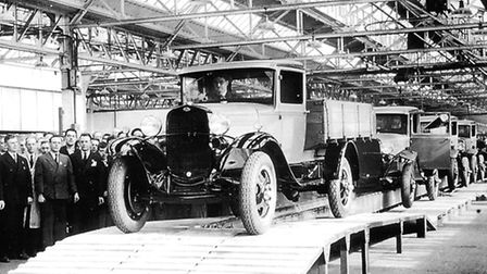 The first vehicle off the assembly line in Dagenham on October 1, 1931