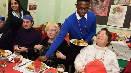 Students from Barking Abbey School hosted a Christmas meal