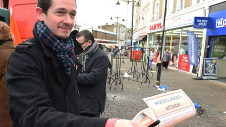 Dagenham GMB political officer Andrew Achilleos hands out leaflets to Barking residents