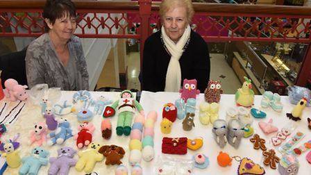 Sheila Wiggins and Gwen Brinkley set up a stall at the Valentines Fayre in the Vicarage Fields Shopp