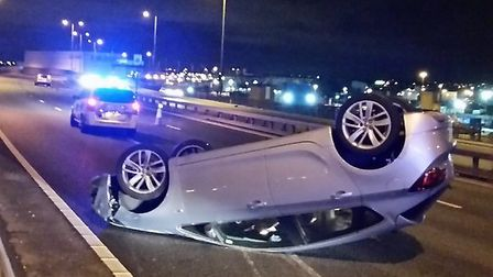 A car overturned on the A13 this morning (Pic: @LAS_Newham/Twitter)