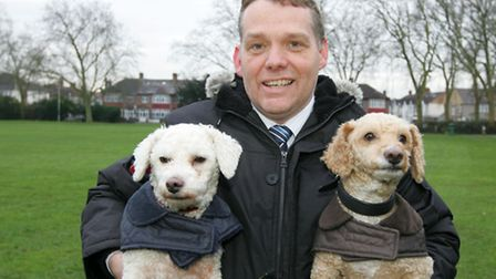 Council leader Cllr Darren Rodwell with his dog's Wesley and Toby