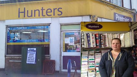 Hunters Convenience Store, in Wood Lane, Dagenham with shop assistant Patricia King, inset