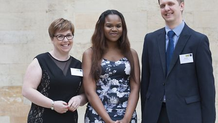 Teacher John Course with former student Fisayo Noibi and his guest Kerry Course (Pic: Edmund Blok/Ox