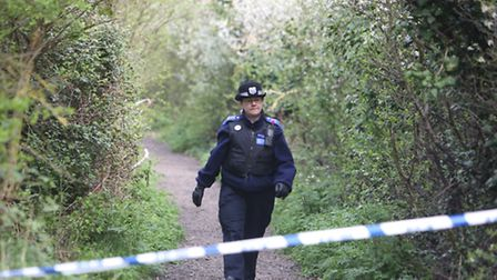 Police at Eastbrookend Country Park on The Chase in Rush Green