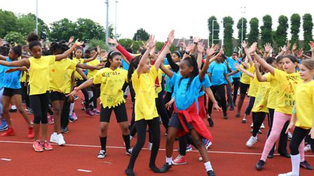 Over 500 pupils from 20 schools are performing a mass choreography entitled Dance Rio at the Jim Pet