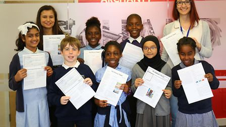 Budding young journalists from Northbury primary School visit Archant Barking office.
