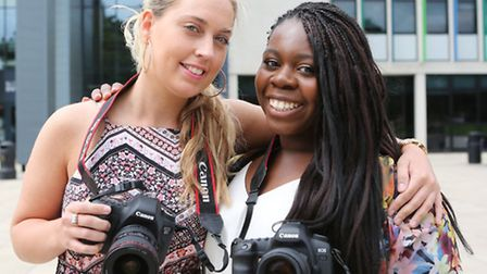 Former Barking & Dagenham College students celebrate four years in business. Rebecca Perry (left) an