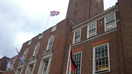 The Union flag flies at full mast at Barking Town Hall