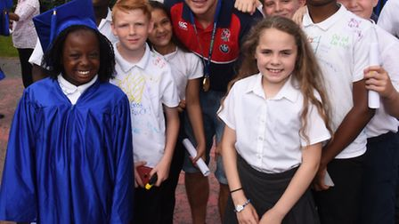 Year 6 from Rush Green Primary School celebrated their graduation and received diplomas from visitin