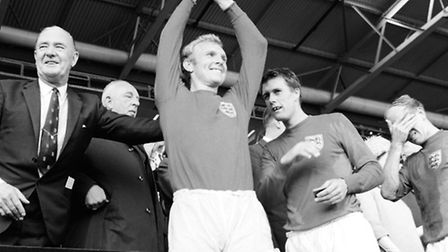 Bobby Moore lifts the Jules Rimet trophy (Pic: PA)
