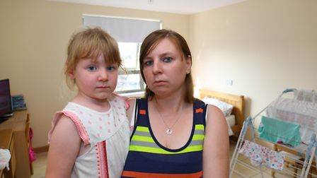 Shelley Harlow shares a room, and a bed, with her four-year-old daughter Maisy Gosling, in temporary