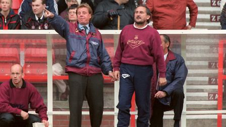 Harry Redknapp and Frank Lampard senior while manager and assistant-manager of West Ham United (Pic: