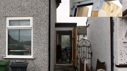 Main image, the bike careered off the road and through the front door. Inset, damage to a door frame