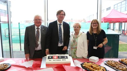 (left to right) Eastbury chair of governors Roy Patient, executive head David Dickson, Mayor of Bark