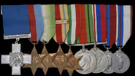 World War II medals awarded to Richard V Moore. Photo: Museum of London Docklands