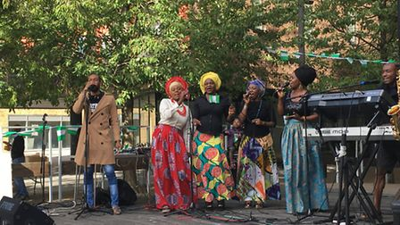 One of the live performances outside Barking town hall