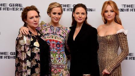 Paula Hawkins (left), with Emily Blunt,, Rebecca Ferguson and Haley Bennett at the world premiere of