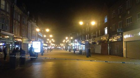 East Street in Barking was closed off by police following a stabbing yesterday evening. Picture: Pho