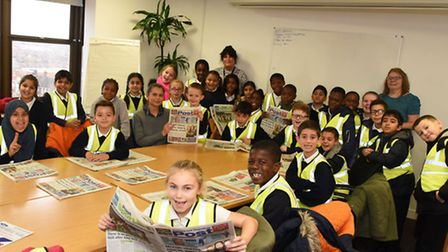 Children from Henry Green Primary School during their visit to the Post's office