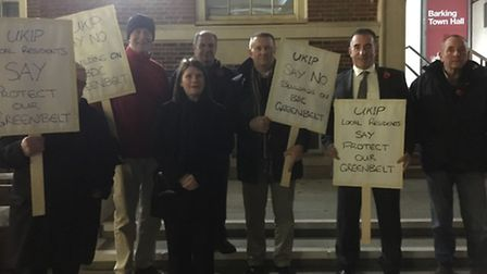 UKIP's Peter Harris pictured with protesters against the proposed Barking & Dagenham College develop