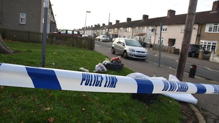 Police were still collecting forensic evidence at the crime scene in Stanhope Road on Tuesday evenin