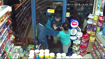 CCTV footage shows how Rupa Thakuri trys to get rid the four aggressors at Dagenham Wine and Sprits