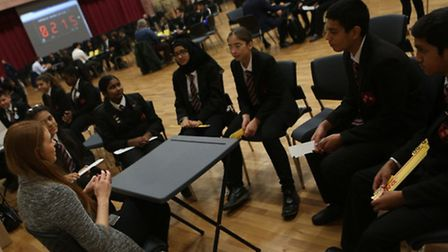 Youngsters quiz professionals at the careers event